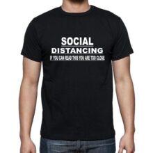 Black Cotton Tshirt (Social distancing) Large size