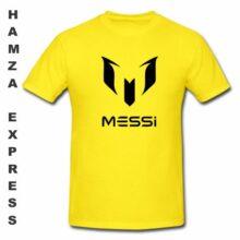 Messi Cotton T shirt Round Neck Yellow