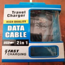 Travel Charger 2 in 1 High Quality Data Cable Fast Charging
