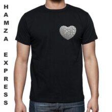 Black Cotton Tshirt Heart Logo Round Neck