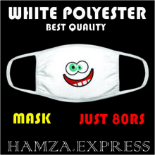 Face Mask White Polyester New Design BY HAMZA EXPRESS