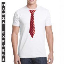 White Cotton Tshirt New Tie Design BY HAMZA EXPRESS