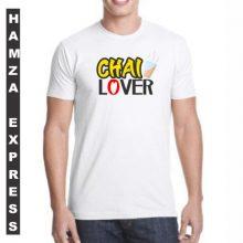 White Cotton Tshirt New Chai Lover Design BY HAMZA EXPRESS