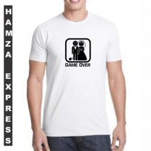 White Cotton Tshirt New Game Over Design BY HAMZA EXPRESS