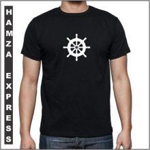 Black Cotton Tshirt New Wheel Design BY HAMZA EXPRESS