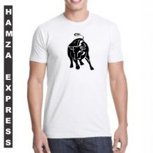 White Cotton Tshirt New Bull Design BY HAMZA EXPRESS